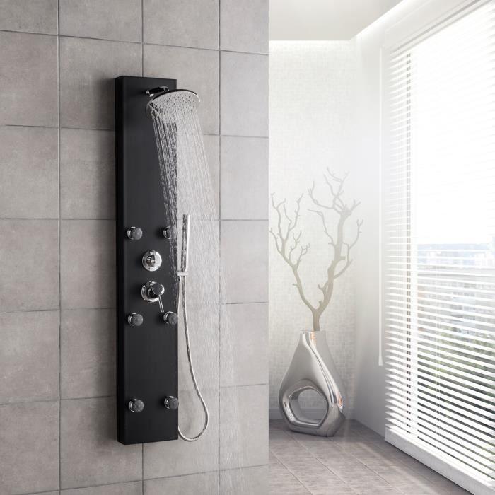 Colonne de douche noir Valencia Système de panneau de douche