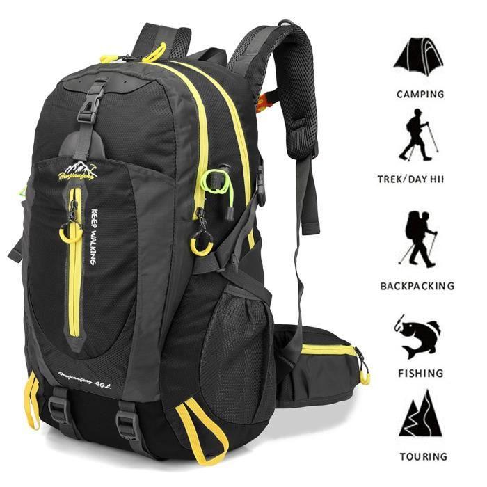couleur noire 30 - 40L -Sac à dos de cyclisme 40l étanche pour hommes et femmes, sac de voyage, randonnée, Trekking, escalade, sport