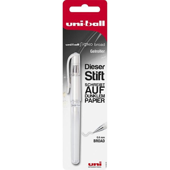 Faber-Castell 146895 Signo Stylo roller Uni-Ball UM-153, pointe : 0,6 mm Blanc