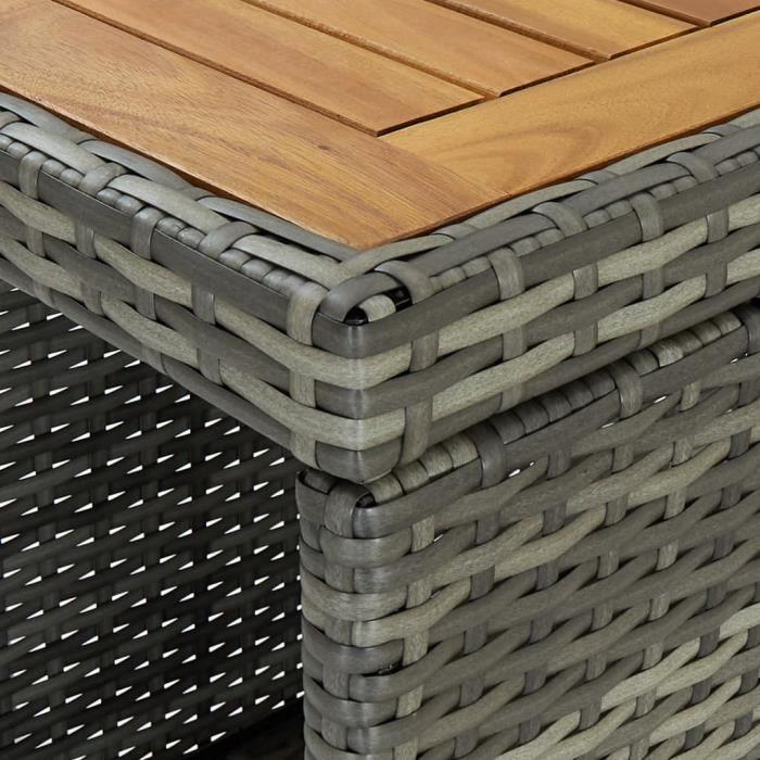 Bonne qualité - Table de bar Table haute- Mange-Debout avec rangement Gris 120x60x110 cm Résine tressée @8744 :