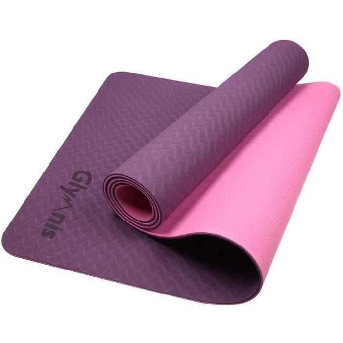 Glymnis Tapis de Yoga Tapis de Sport en TPE Matériaux Antidérapant et Durable Épaisseur de 6MM 183x61x0.6cm pour Yoga Fitness Pilate