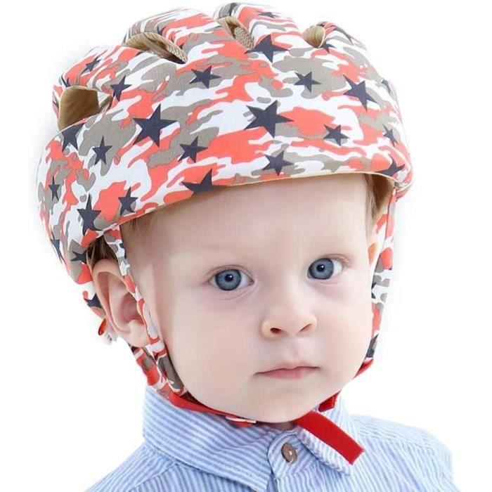 Bébé casque de protection, Chapeau infantile Tête de protection Chapeau de coton pour enfant, réglable casque de sécurité, Rouge