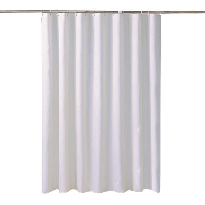 Rideau de douche Tissu Imperméable,Couleur Unie Rideaux Rideau Baignoire avec Crochets et Ourlet Lesté D 200*200(L*H)CM