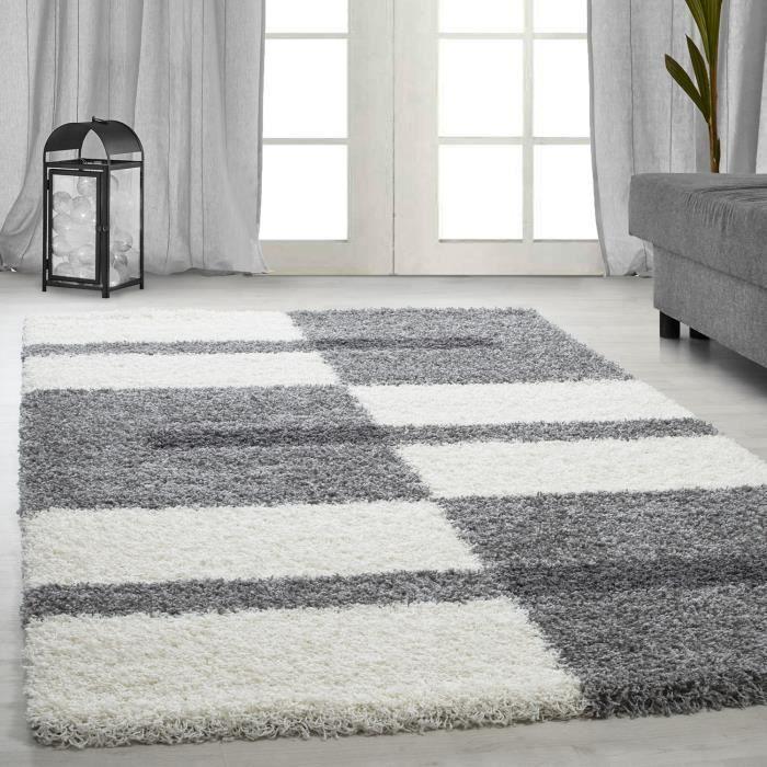 tapis Shaggy Shaggy gris rayé vert rouge tapis beige de salon [gris clair, 160x230 cm]