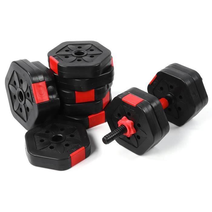 Ensemble d'haltères 25 kg tige de connexion haltère 2 en 1 haltère barre en acier robuste haltères hexagonaux ensemble colliers