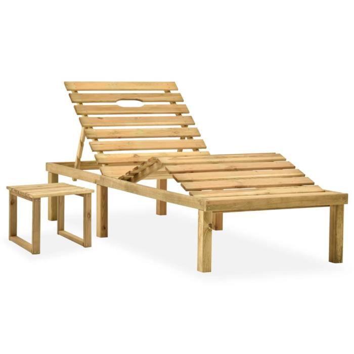 Top confort - Bain de soleil avec table - Chaise de jardin - pour Jardin Mer Plage Balcon - Bois de pin imprégné FLO6920