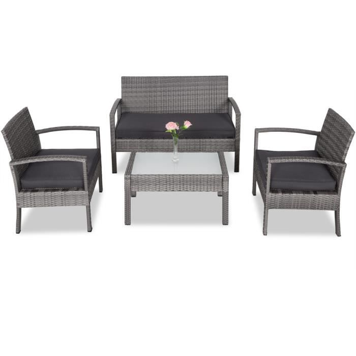 Salon de jardin en polyrotin gris 7 pièces chaises banc coussins ensemble lounge résistant aux intempéries jardin balcon terrasse