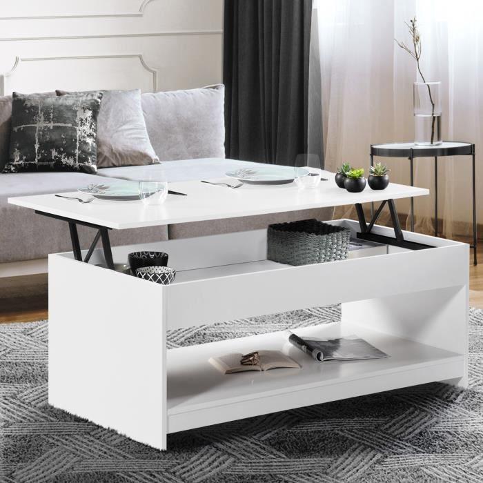 ID MARKET - Table basse plateau relevable SOA bois blanc