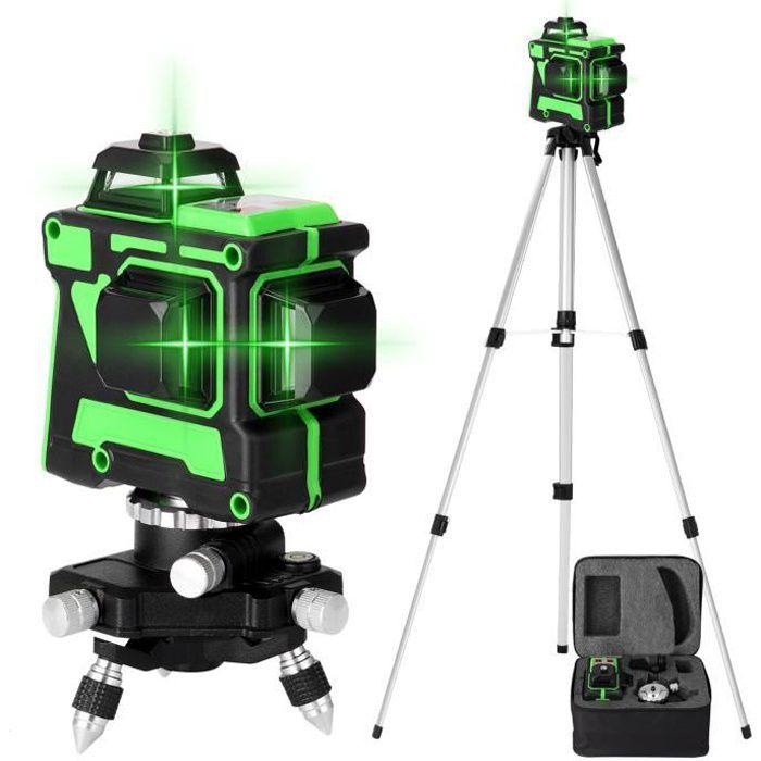 KKmoon niveau laser multifonctionnel 3D 12 lignes autonivelant avec 1.5M 3 hauteurs support de trépied de barre d'extension en a-D