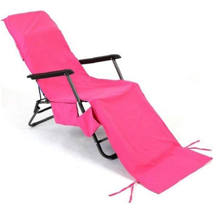 Chaises longues Serviettes Microfibre avec poches de rangement latérales Chaise Chaise Couverture Rose