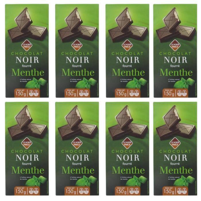 [Lot de 8] Chocolat noir fourré Menthe - 150g par tablette