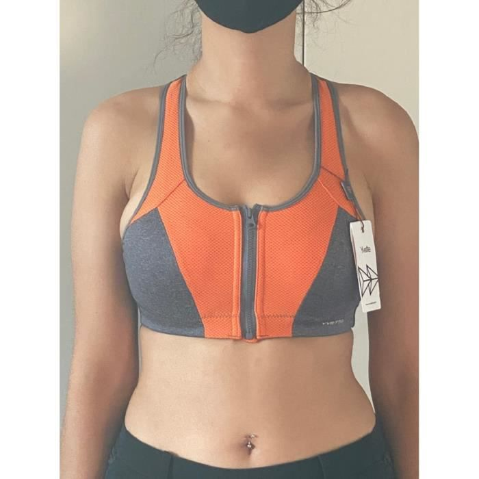 Soutien Gorge Sport Grand Maintien Zippée Devant-Sport pour Femme - Haut Impact - pour la Gym, la Course à Pied - Soutien Optimal
