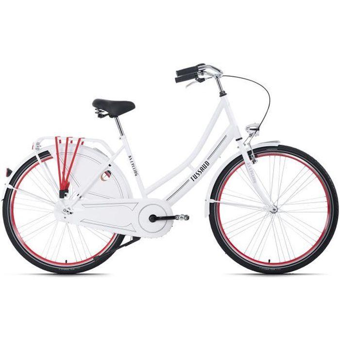 Vélo hollandais 28- Tussaud blanc-rouge singlespeed TC 49 cm KS Cycling