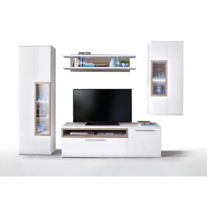Ensemble meuble blanc brillant et imitation chene