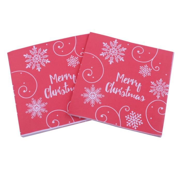 40pcs motif de flocon de neige créatif imprimé décoratif serviettes de Noël mignonnes pour la fête à maison de NAPPE DE TABLE