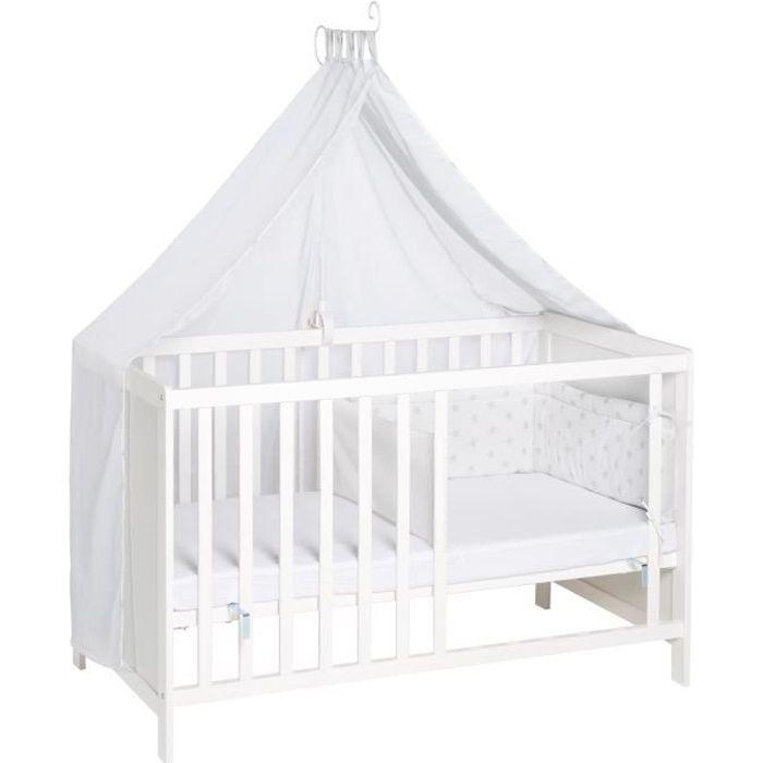 Lit multifonctionnel avec fonction de lit cododo, 60 x 120 cm, blanc, équipement complet inclus