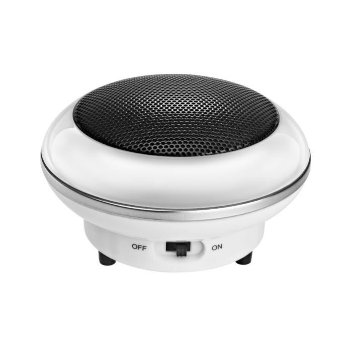 Wavemaster Enceintes MOBI Blanc - 3,8W - PC/Mobile/Tablette/Lecteur MP3-MP4