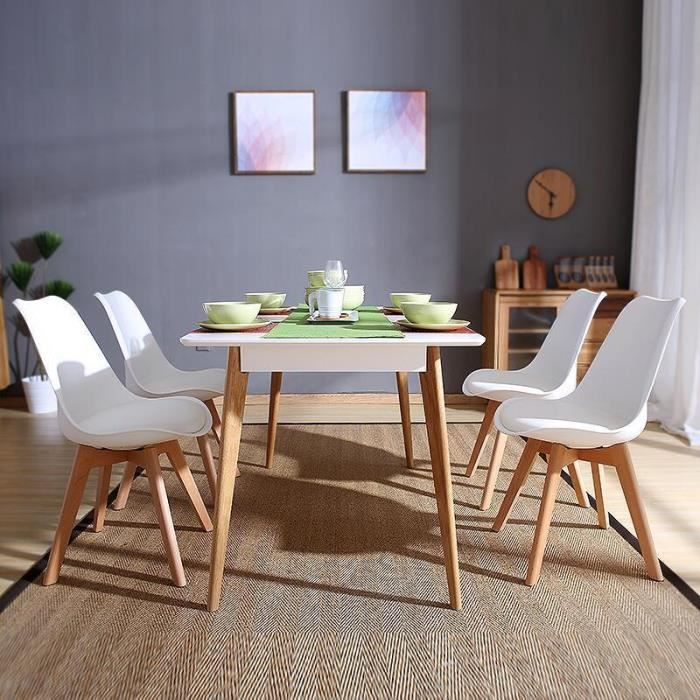 Furniturer lot de 4 chaises scandinaves chaises design for Chaise de salle a manger en plastique