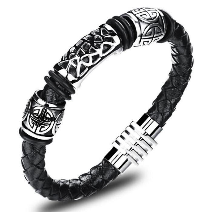 Fashion Hommes Noir Cuir tissé Bracelet Rétro Punk Rock Bracelet en acier inoxydable