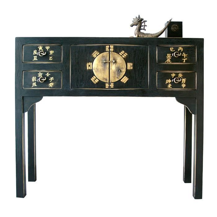 console chinoise noire table de lit. Black Bedroom Furniture Sets. Home Design Ideas