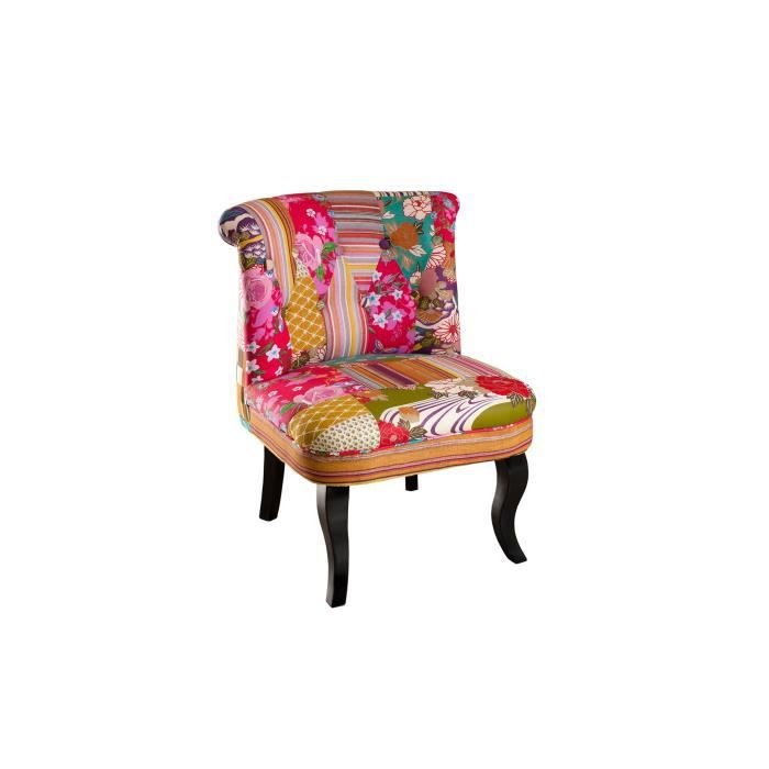 Pragues fauteuil betty color en tissu boh me rouge for Chaise en tissu colore