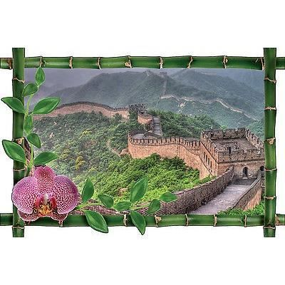 Sticker mural trompe l 39 oeil d co bambou murail de chine for Mural de chine