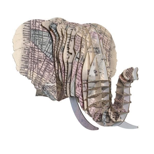 T te el phant en carton recycl new york taille m for Decoration murale geante new york