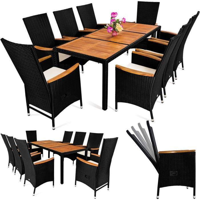 salon de jardin table 8 chaises polyrotin bois achat vente salon de jardin salon jardin. Black Bedroom Furniture Sets. Home Design Ideas