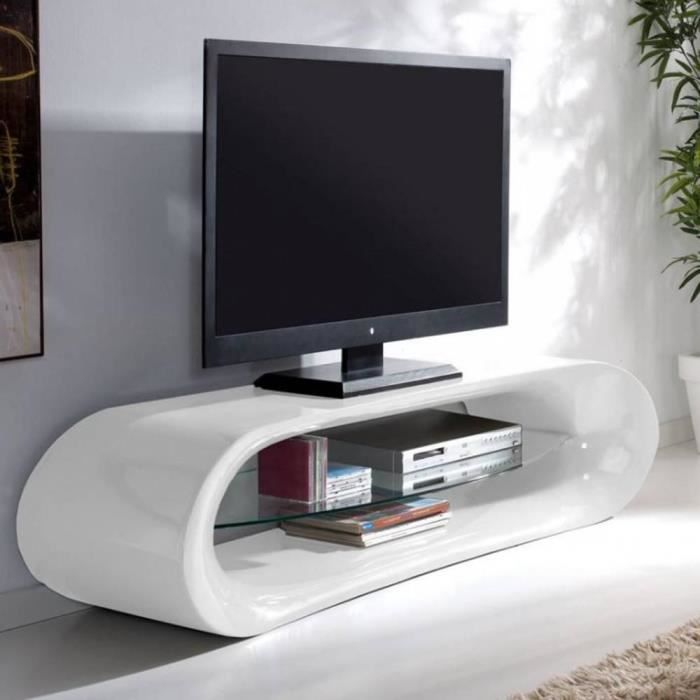 Meuble tv design ka na en fibre de verre blanc achat for Meuble tv arrondi
