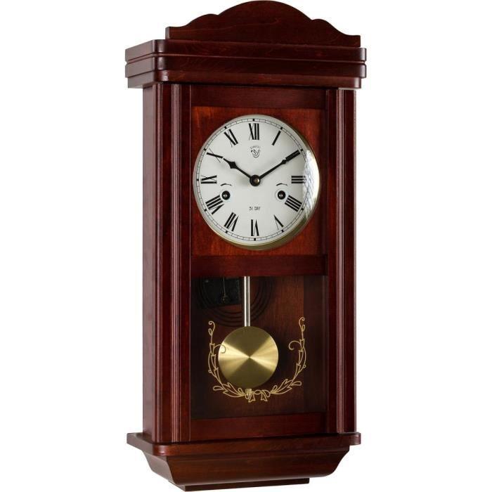 JVD ns18007//68 Horloge Murale Quartz Analogique Hêtre-couleurs Silencieux sans faire TIC-TAC avec verre