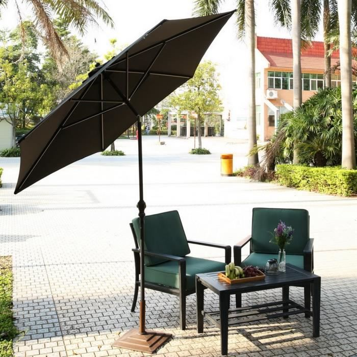 parasol inclinable tilt parasol parapluie r glable plage patio ext rieur noir achat vente. Black Bedroom Furniture Sets. Home Design Ideas