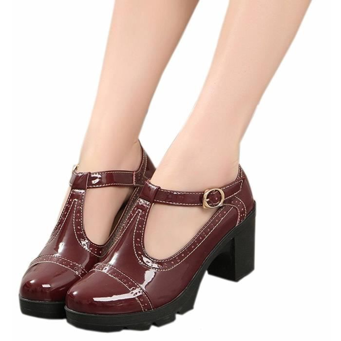 DADAWEN Femme Classic T-Strap Platform Mid-Heel Square Toe Oxfords Dress Chaussure rouge 39