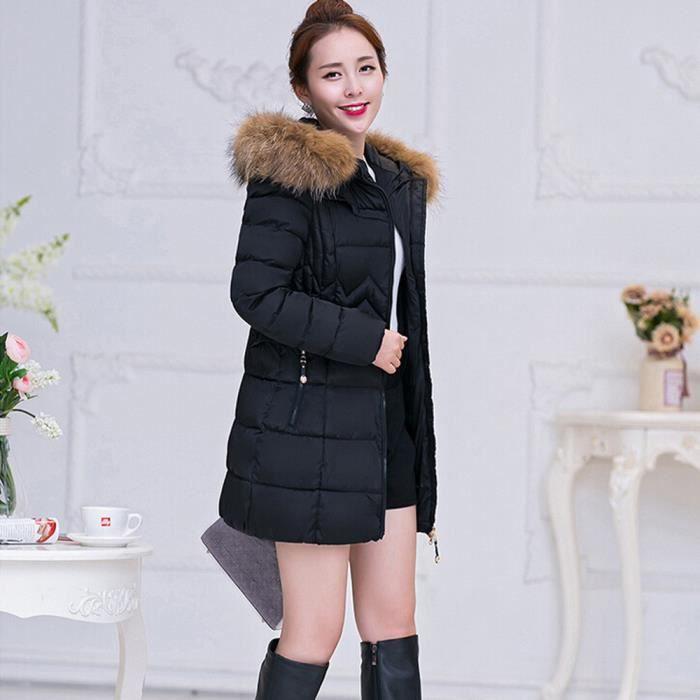 Parka De Mode Doudoune Lammy Femmes Thicker Veste Outwearnoir Chaud Coton Hiver Long Manteau ZPkXiu