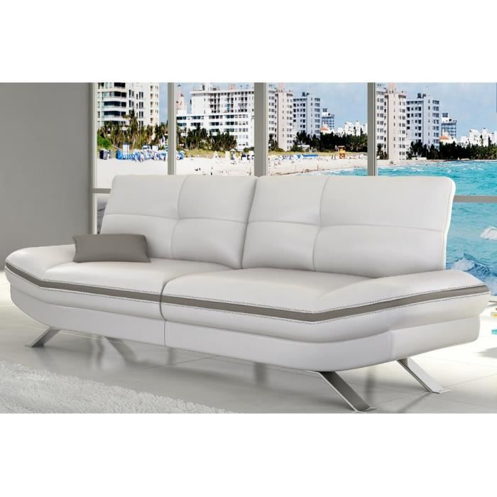 Canap 2 places miami cuir pu blanc gris achat vente for Canape cuir blanc 2 places