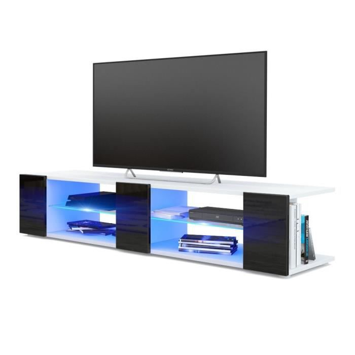 meuble tv blanc mat fa ades noir laqu es led bleu achat vente meuble tv meuble tv blanc mat. Black Bedroom Furniture Sets. Home Design Ideas