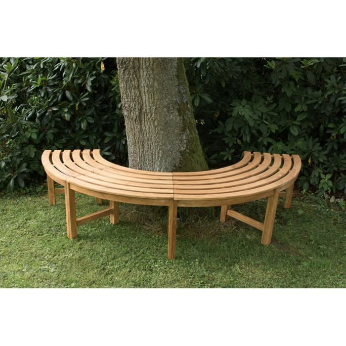 banc de jardin tour d 39 arbre rond en bois de teck demi cercle dim h 45 x l 113 x p 44 cm. Black Bedroom Furniture Sets. Home Design Ideas