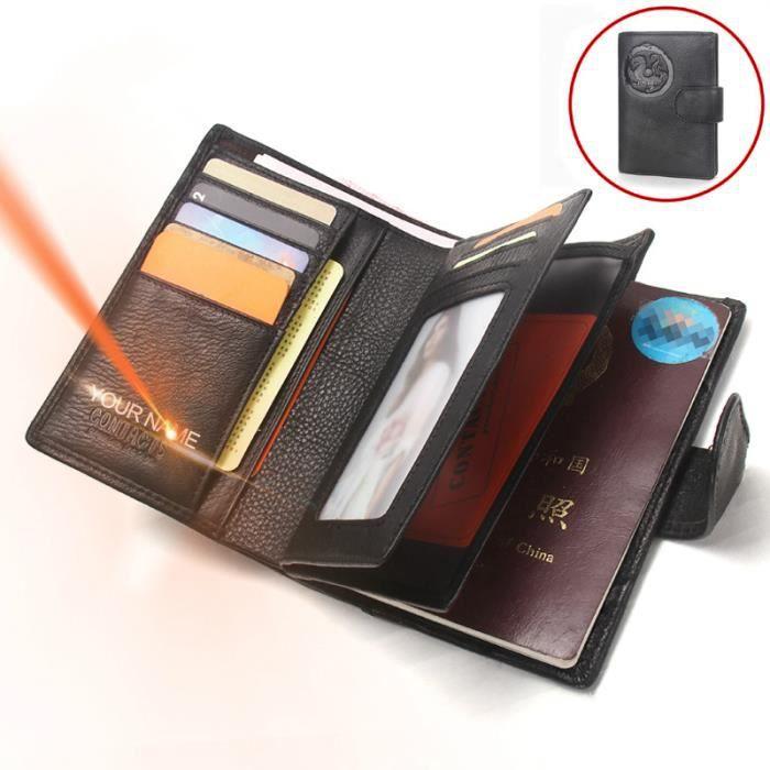 porte-cartes pour pi/èce didentit/é LEAS rouge cuir v/éritable LEAS Card-Collection