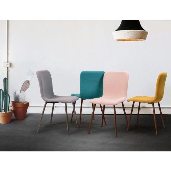chaises Scandinave de SCARGILL L gris Lot 54 cm bois 4 x en Pieds P tissu décor 44 EHIYD29W