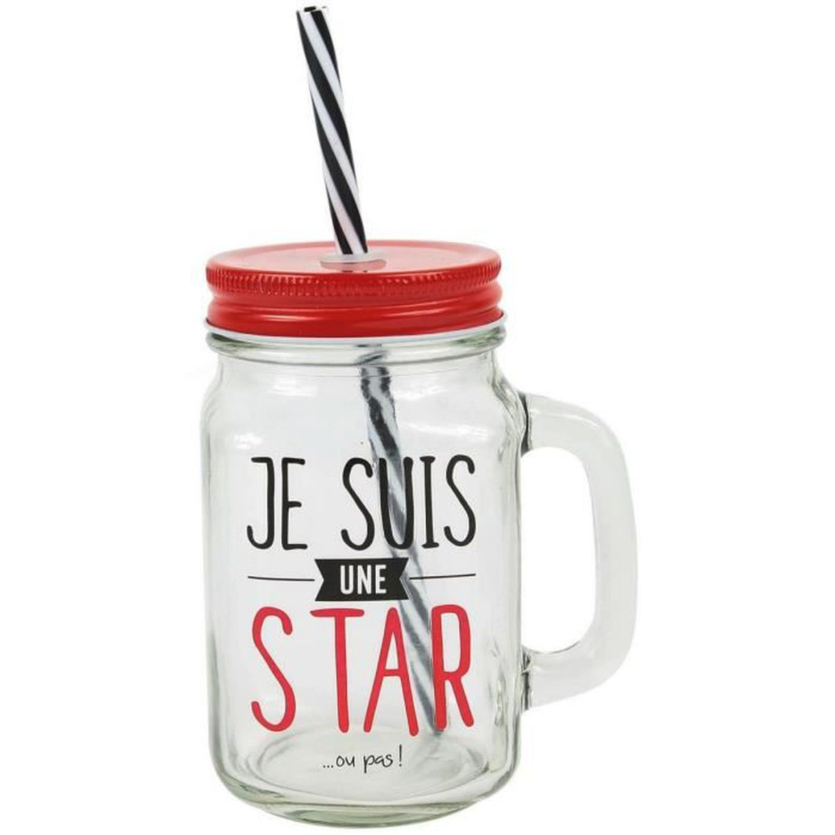 mason jar gobelet bocal avec paille inscription je suis une star rouge achat vente fontaine. Black Bedroom Furniture Sets. Home Design Ideas
