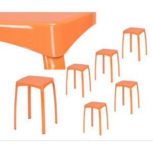 TABOURET Lot de 6 Tabourets 32x32x45.5cm Empilable Orange P