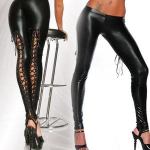 Jambière - Guêtre Leggings punk femme sexy comme dentelle noir faux