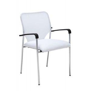 CHAISE DE BUREAU Chaise visiteur bureau blanc pieds chromé avec acc
