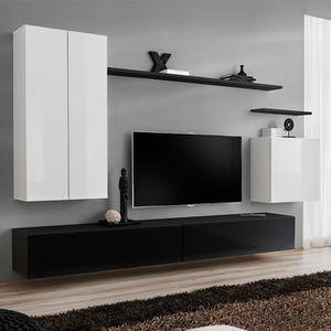 MEUBLE TV Meuble tv mural blanc et noir IRSINA Noir L 270 x