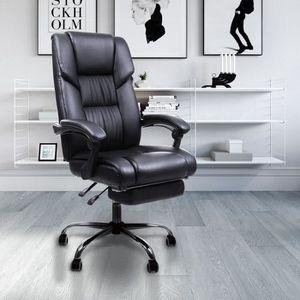 CHAISE DE BUREAU Fauteuil De Bureau cuir noir avec repose-pieds - h