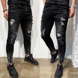 JEANS Stretch Hommes Skinny Jeans Denim Distressed Freye
