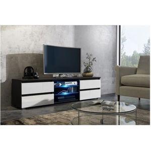 MEUBLE TV Meuble tv 150 cm noir et blanc mat