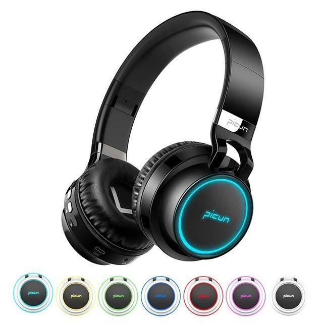 Casque Stéréo Brillant Bluetooth, Casque Audio, Casque d'Ecoute sans Fil, Gros Casque d'Ecoute Sportif, TF, Téléphone Cadeaux -Blanc