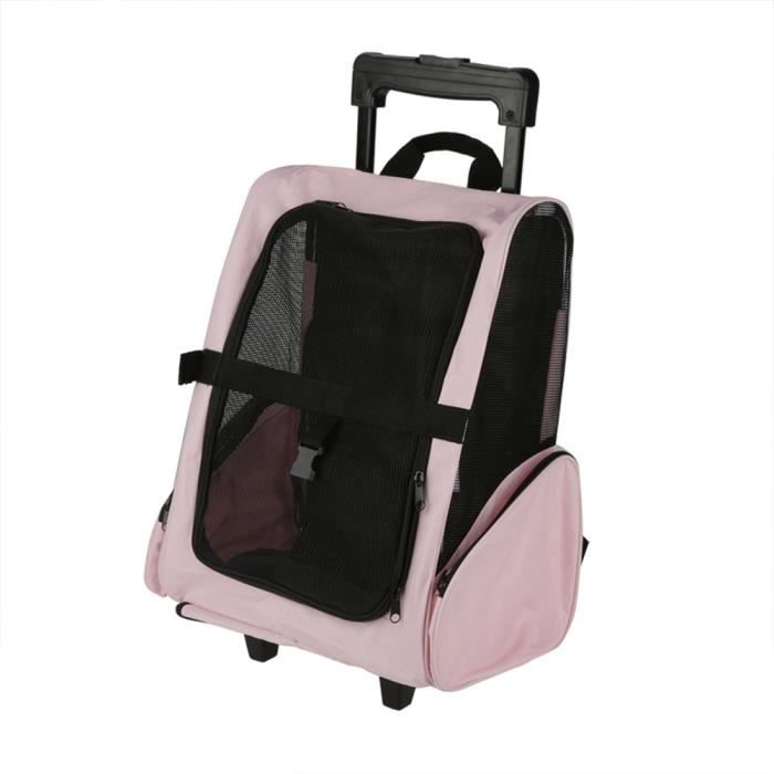 Sac de transport portable pour animaux de compagnie Sac à dos à roulettes Sac à dos pour chien (Rose)-TIP