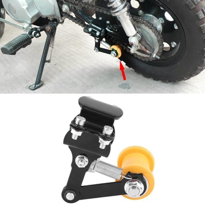 Ajusteur chaîne tendeur boulon sur rouleau moto modifié accessoires outil universel facile à installer noir