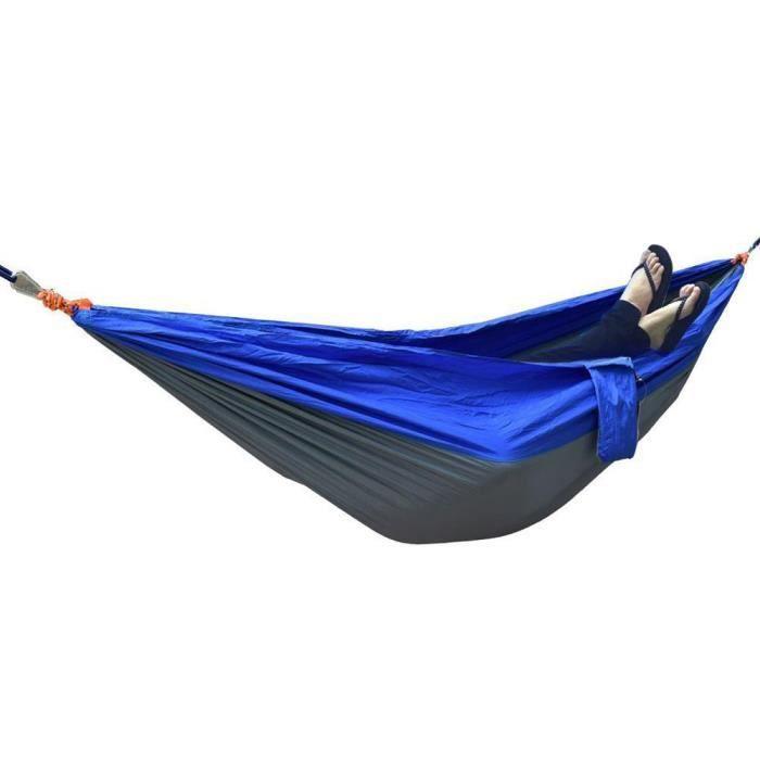 Hamac double en toile de camping double - hamac léger en nylon portatif pour parachute de randonnée (bleu cendré argent)-SHU